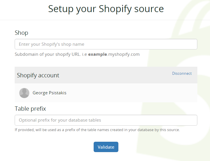 Shopify Integration and Expected Data - Blendo