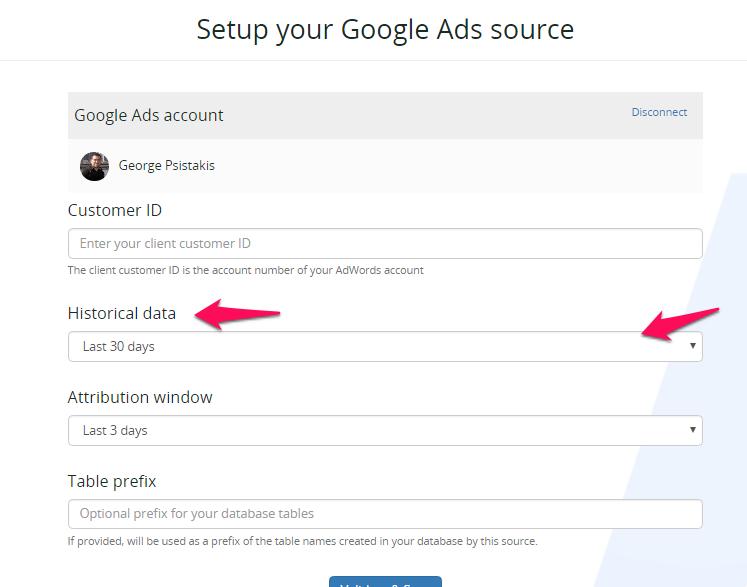 Setup Google AdWords integration - historical data
