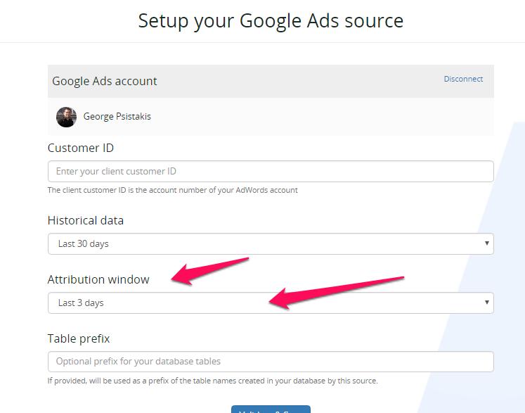 Setup Google AdWords integration - attribution window