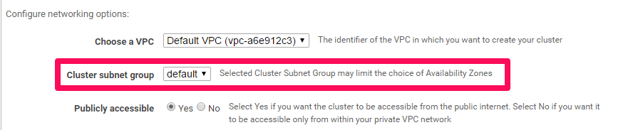 How to setup a Redshift Cluster - Network Setup - Cluster subnet group