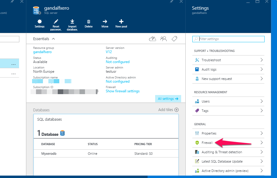 Azure SQL Server Firewall Rule