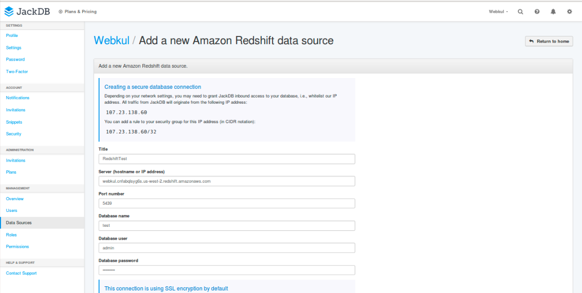 Tools to connect to your Amazon Redshift Cluster - Blendo