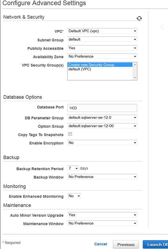 AWS RDS MS SQL Server Setup