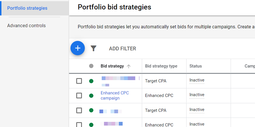 Bid Strategies Report (Google Ads UI)